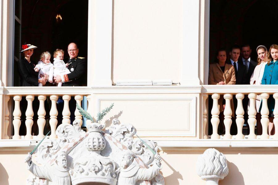 Les Grimaldi au balcon du palais lors de la Fête Nationale