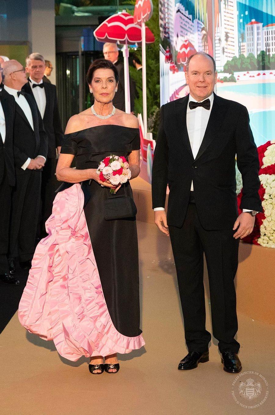 La princesse Caroline et le prince Albert au Bal de la Rose, au Sporting Monte-Carlo, le 30 mars 2019.