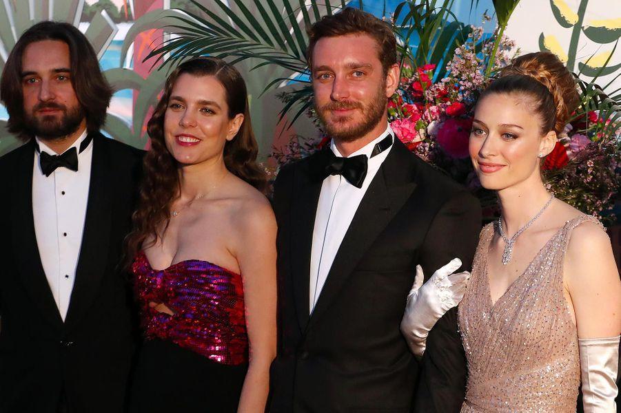 Dimitri Rassam et Charlotte Casiraghi avec Pierre Casiraghi et Beatrice Borromeo au Bal de la Rose, au Sporting Monte-Carlo, le 30 mars 2019.