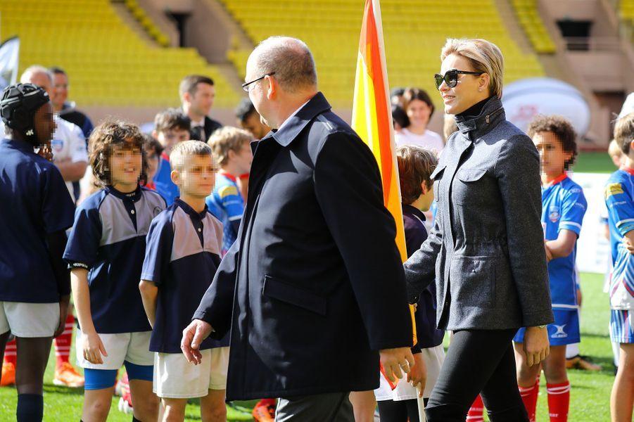 Albert et Charlène de Monaco, samedi au stade Louis-II.