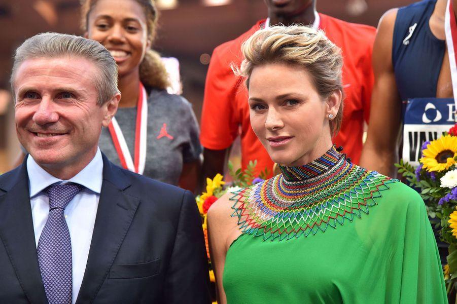 La princesse Charlène de Monaco aux côtés de Sergeï Bubka.