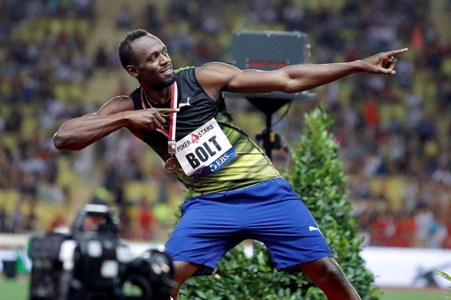 """La célèbre """"foudre"""" d'Usain Bolt."""
