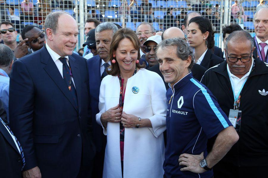 Le prince Albert II de Monaco avec Ségolène Royal et Alain Prost à Marrakech, le 12 novembre 2016