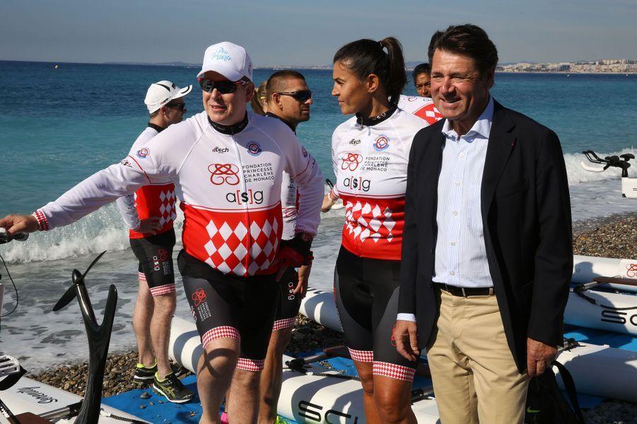 Le prince Albert II et le maire de Nice Christian Estrosi avant le départ.