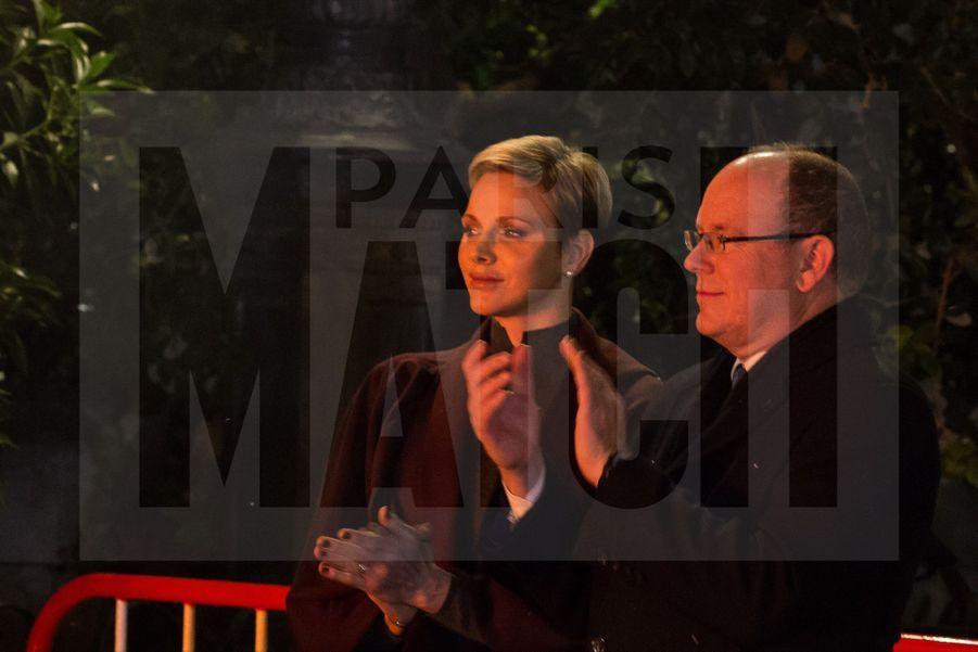 Charlene De Monaco Et Le Prince Albert, Lors Des Celebrations De La Sainte Devote 2