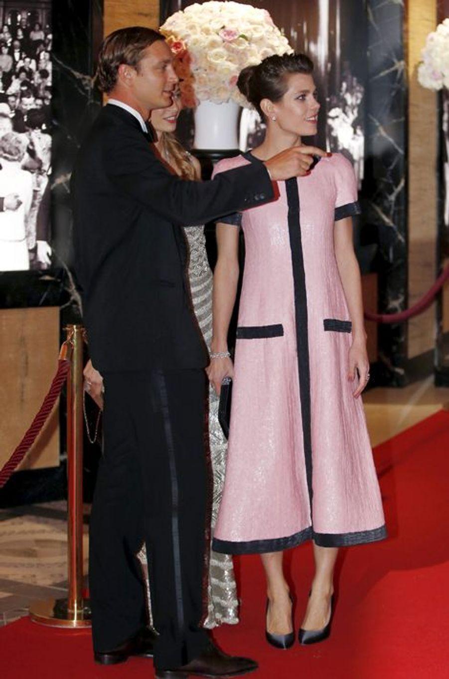 Charlotte Casiraghi, avec son frère Pierre, au bal de la Rose à Monaco, le 28 mars 2015