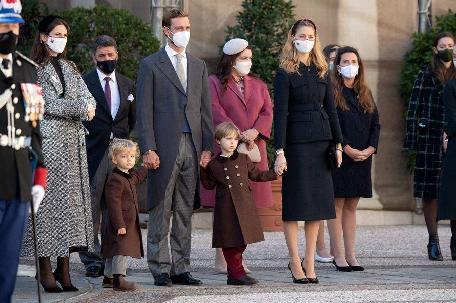 Beatrice Borromeo (à droite, en Dior) avec la famille princière lors de la fête national de Monaco en novembre 2020