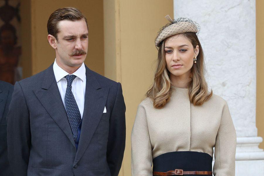 Pierre Casiraghi et Beatrice Borromeo (en Dior) lors de la fête nationale de Monaco en novembre 2017