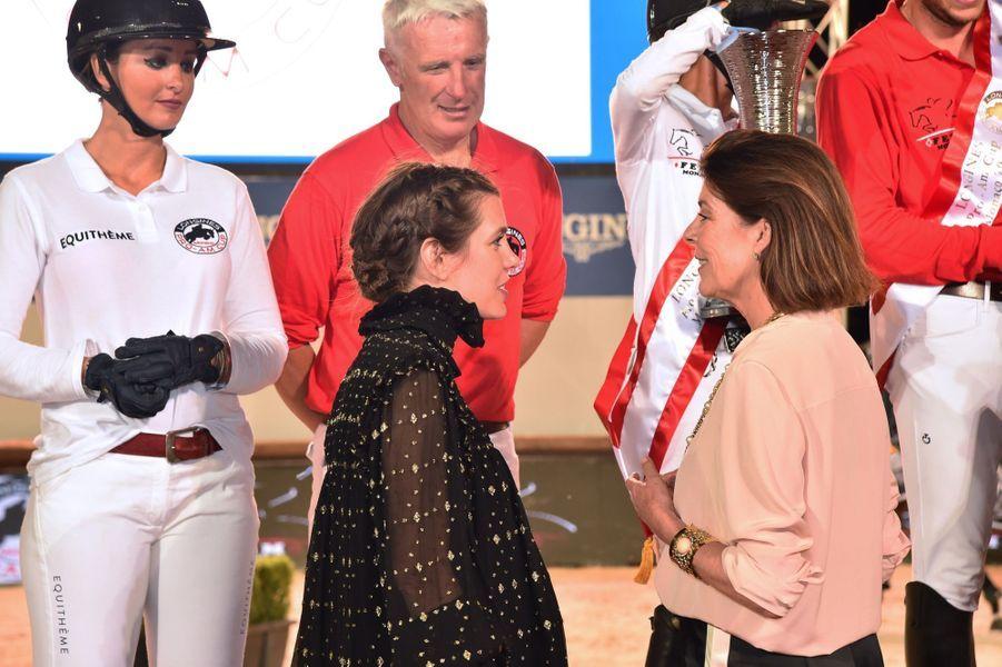 La Princesse Caroline Et Sa Fille Charlotte Casiraghi Lors De La 13ème Édition Du Jumping International De Monte Carlo ( 2