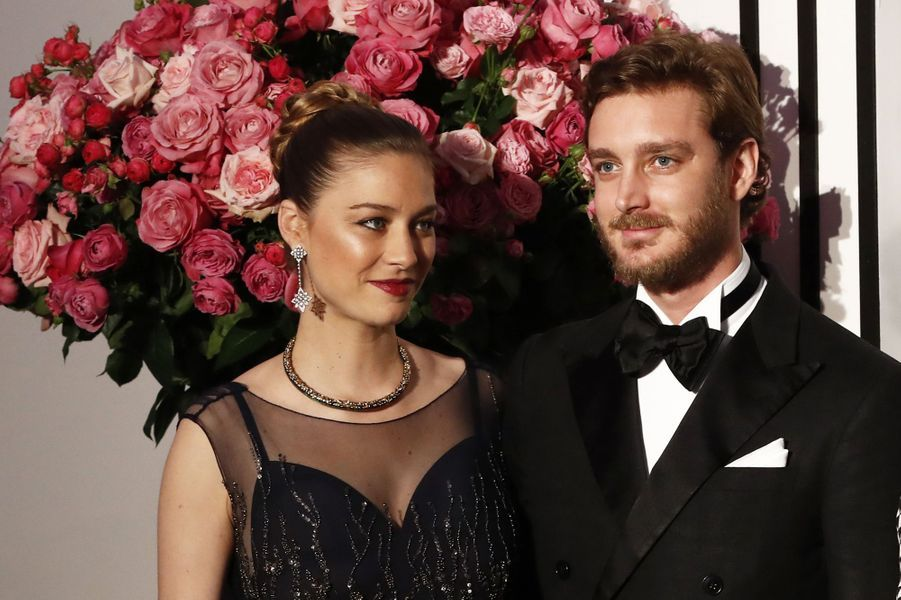 Beatrice Borromeo et Pierre Casiraghiau Bal de la Rose, le 18 mars 2017.