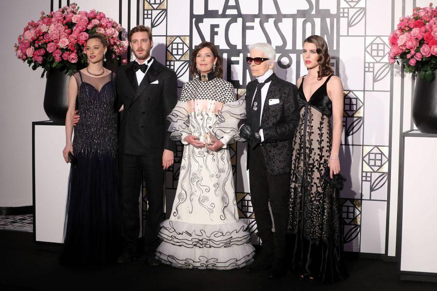 Beatrice Borromeo, Pierre Casiraghi,Caroline de Monaco, Karl Lagerfeld et Charlotte Casiraghi au Bal de la Rose, le 18 mars 2017.