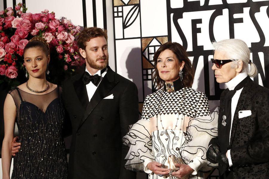 Beatrice Borromeo, Pierre Casiraghi,Caroline de Monaco et Karl Lagerfeld au Bal de la Rose, le 18 mars 2017.