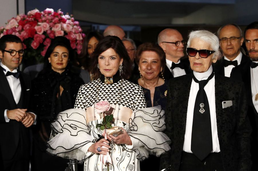 Caroline de Monaco et Karl Lagerfeld au Bal de la Rose, le 18 mars 2017.