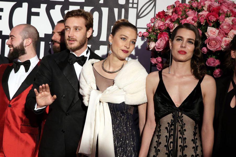 Beatrice Borromeo, Pierre Casiraghi et Charlotte Casiraghiau Bal de la Rose, le 18 mars 2017.
