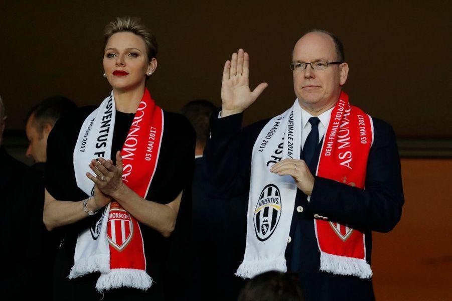 La princesse Charlène et le prince Albert II de Monaco à Monaco, le 3 mai 2017