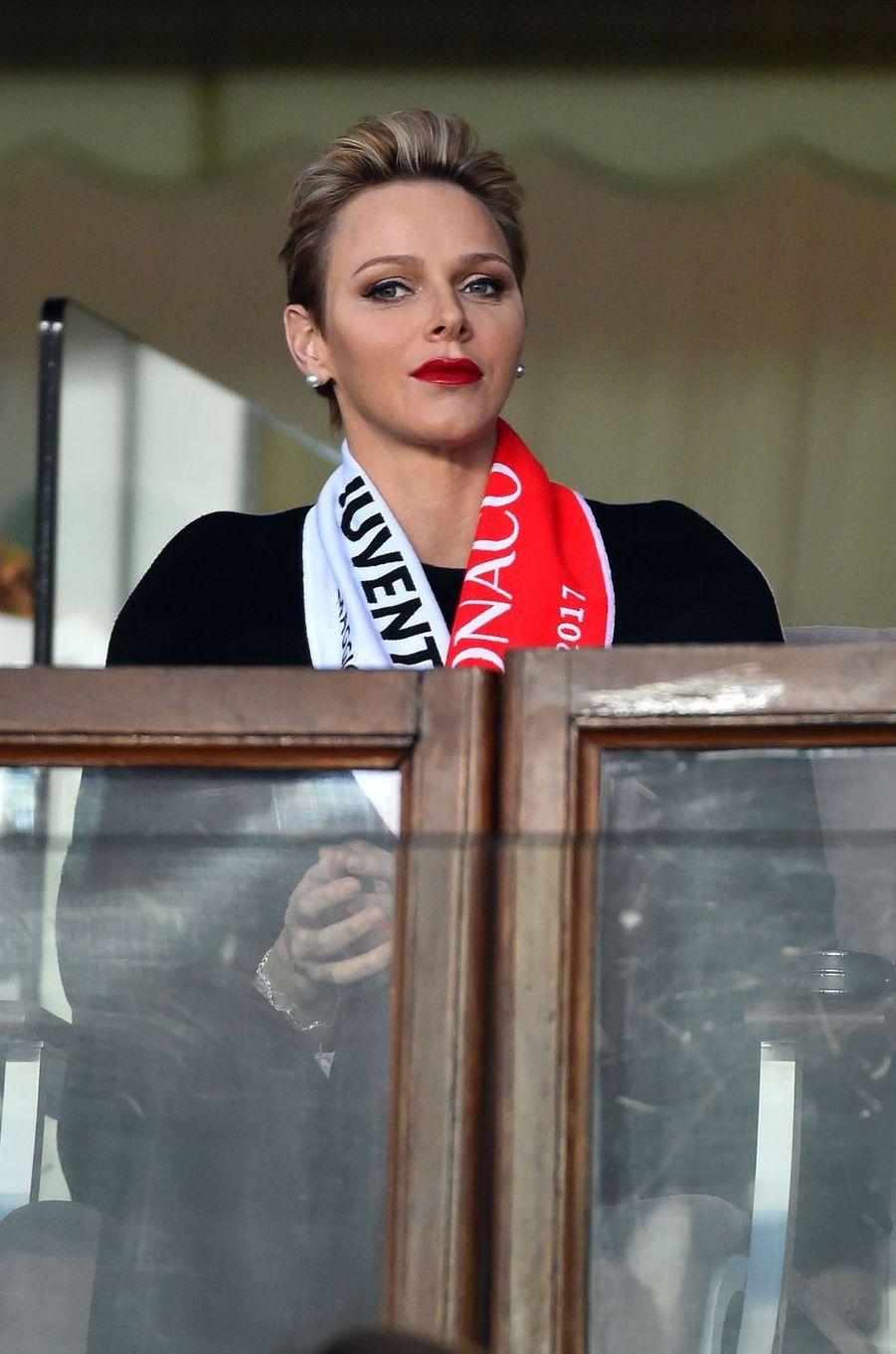 La princesse Charlène de Monaco au stade Louis-II à Monaco, le 3 mai 2017