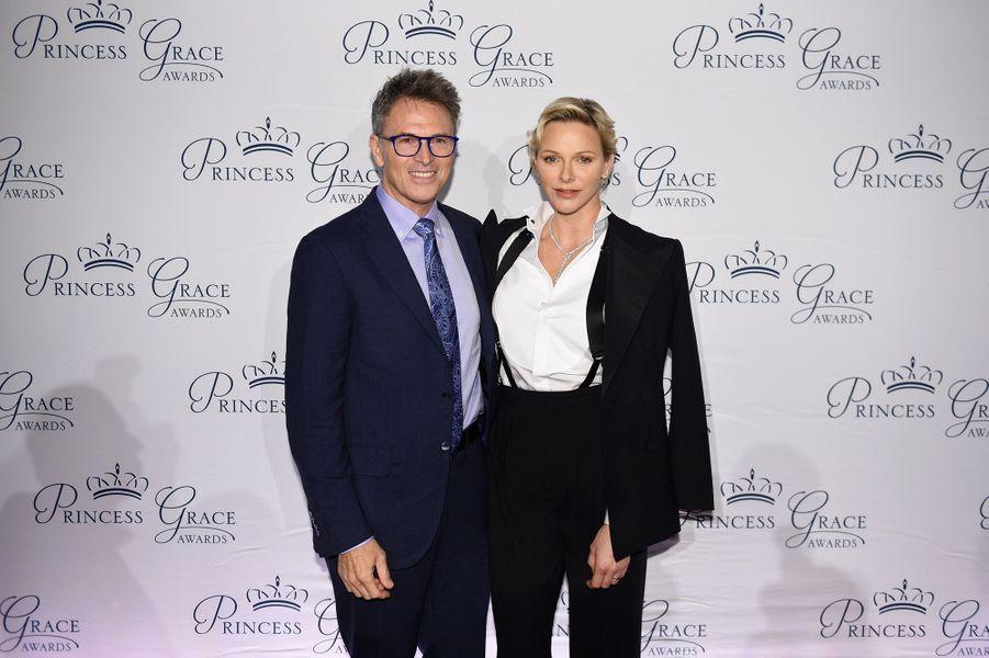 La princesse Charlène de Monaco avec Tim Daly à New York, le 16 octobre 2018