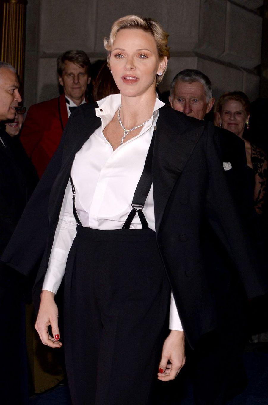 La princesse Charlène de Monaco, en solo, à New York le 16 octobre 2018