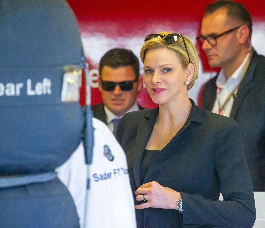 La princesse Charlène de Monaco sur le circuit du Grand Prix d'Abu Dhabi, le 24 novembre 2018