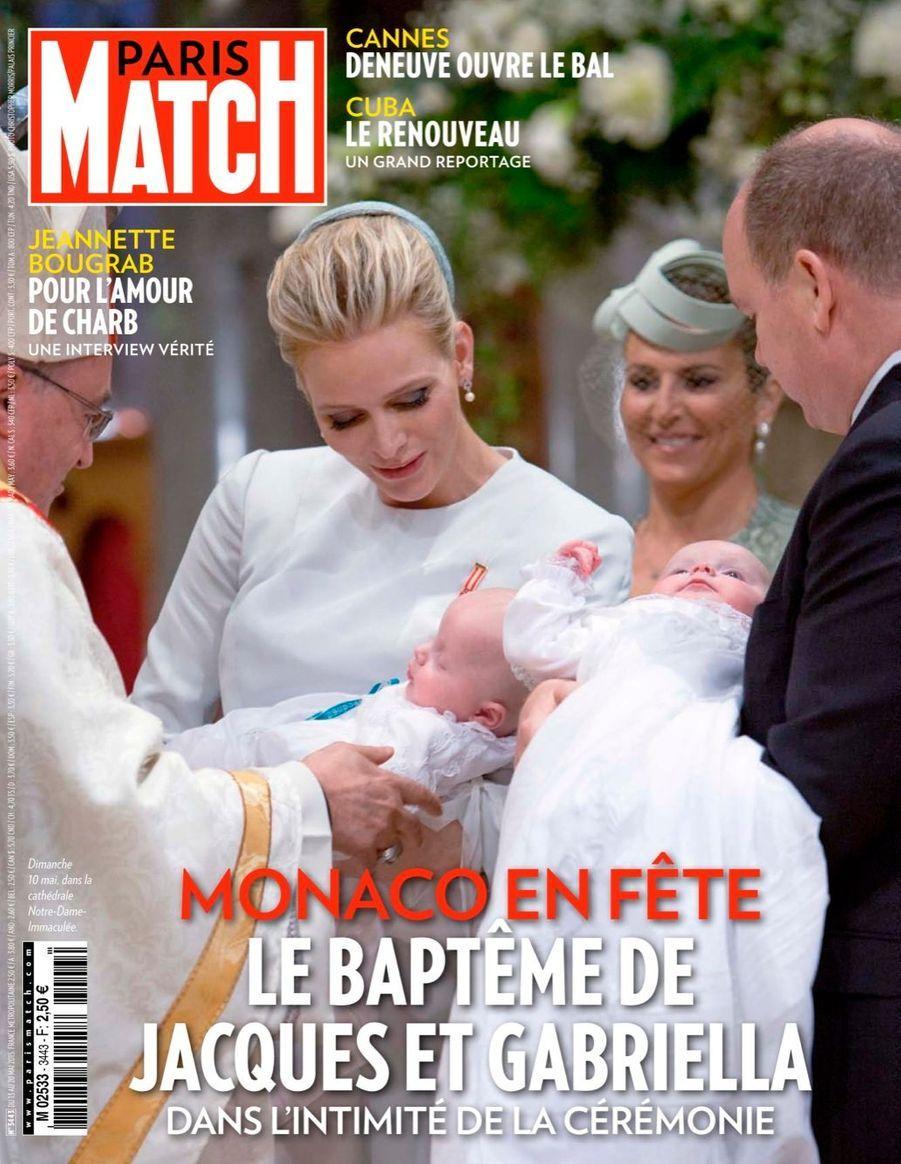 La princesse Gabriella et le prince Jacques, lors de leur baptême, le dimanche 10 mai 2015