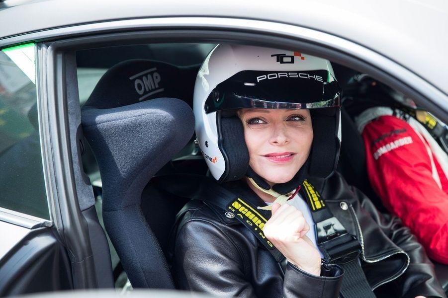 Charlène de Monaco au Mans, samedi.