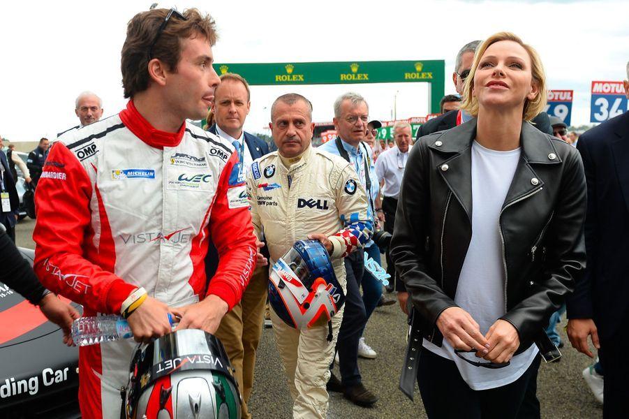 Charlène de Monaco et le pilote italienFrancesco Castellacci, samedi au Mans.