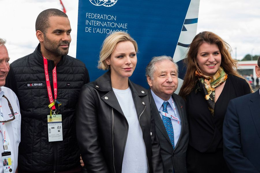 Tony Parker, Charlène de Monaco, Jean Todt et Marlène Schiappa, samedi au Mans.