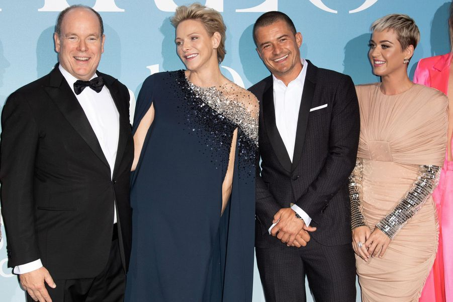 La princesse Charlène et le prince Albert II de Monaco avec Orlando Bloom et Katy Perry à Monaco, le 26 septembre 2018