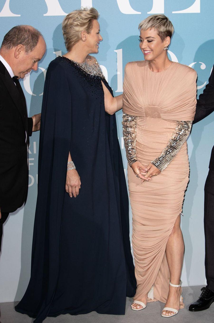 La princesse Charlène de Monaco avec Katy Perry à Monaco, le 26 septembre 2018