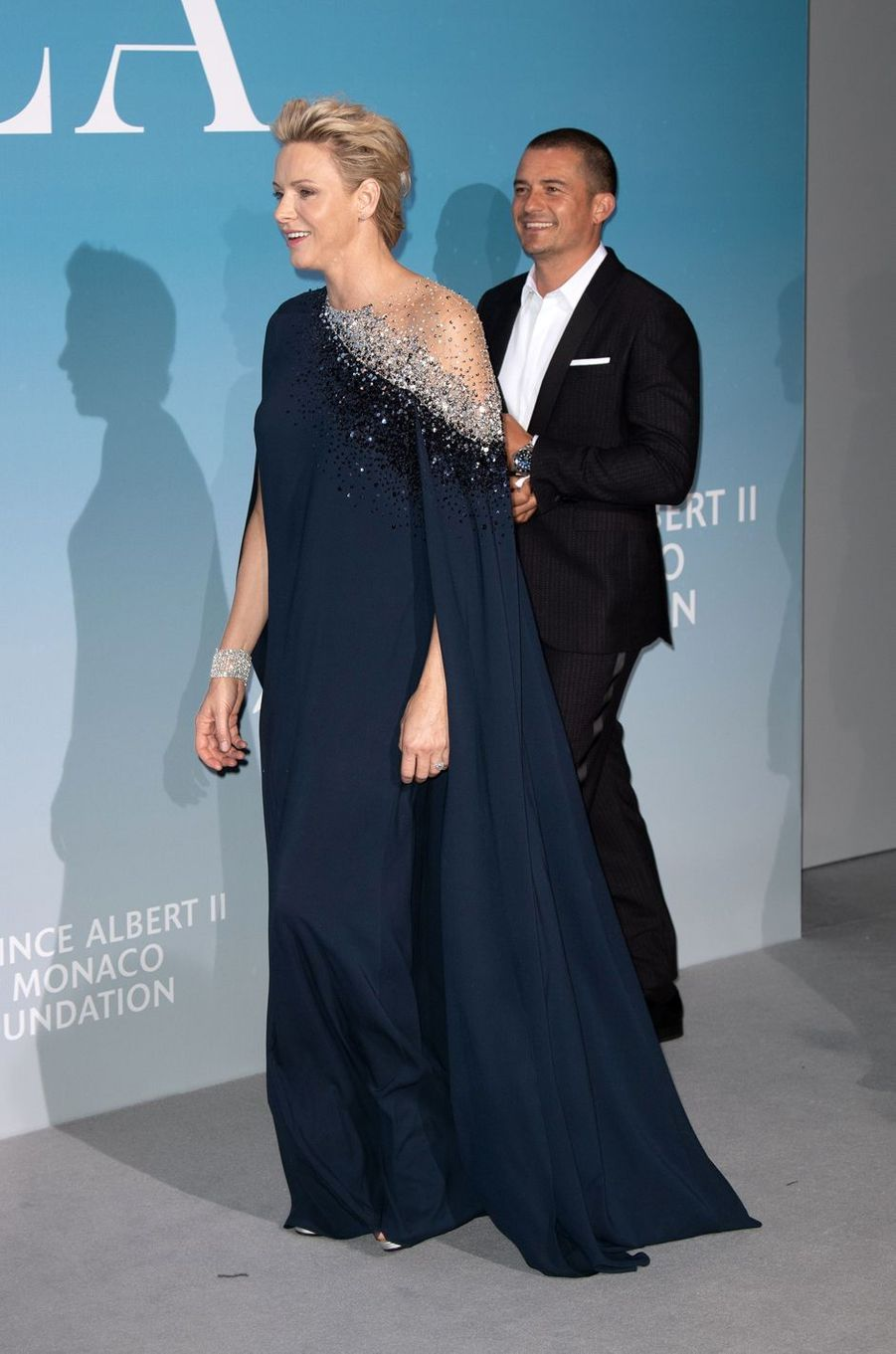 La princesse Charlène de Monaco dans une robe Oscar de la Renta à Monaco, le 26 septembre 2018