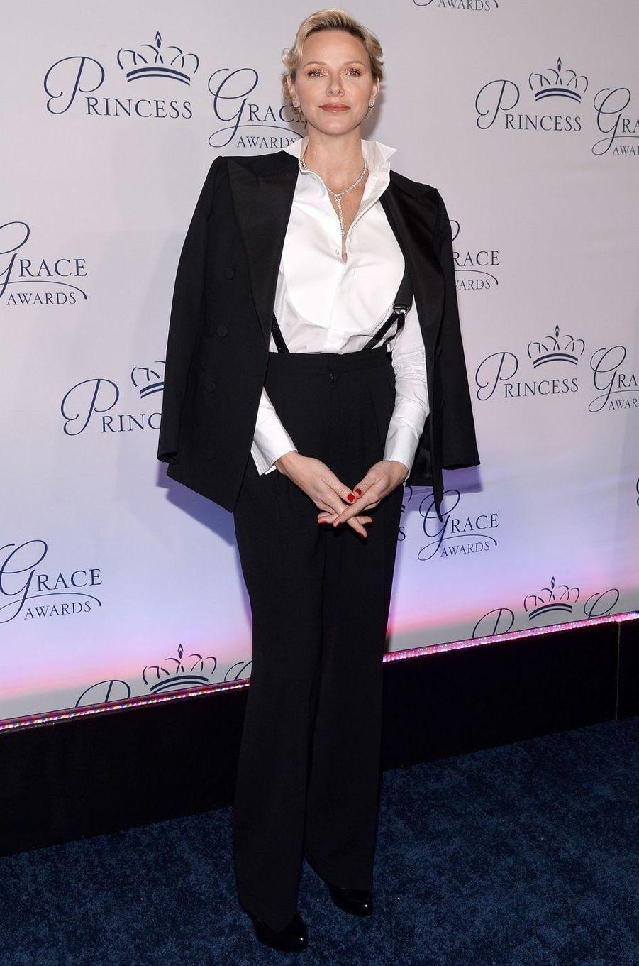 La princesse Charlène de Monaco en Ralph Lauren, le 17 octobre 2018