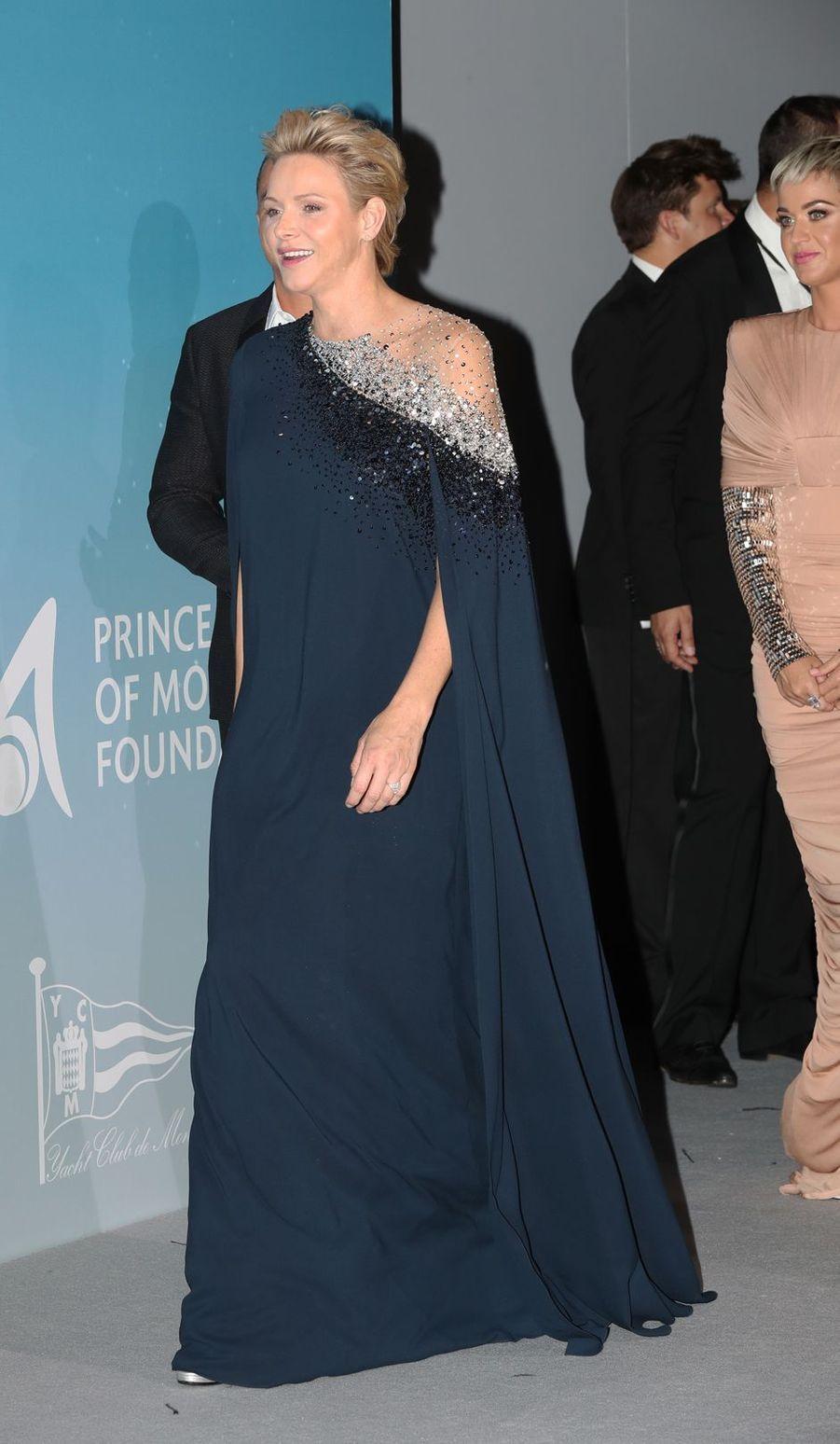 La princesse Charlène de Monaco en Oscar de la Renta, le 26 septembre 2018