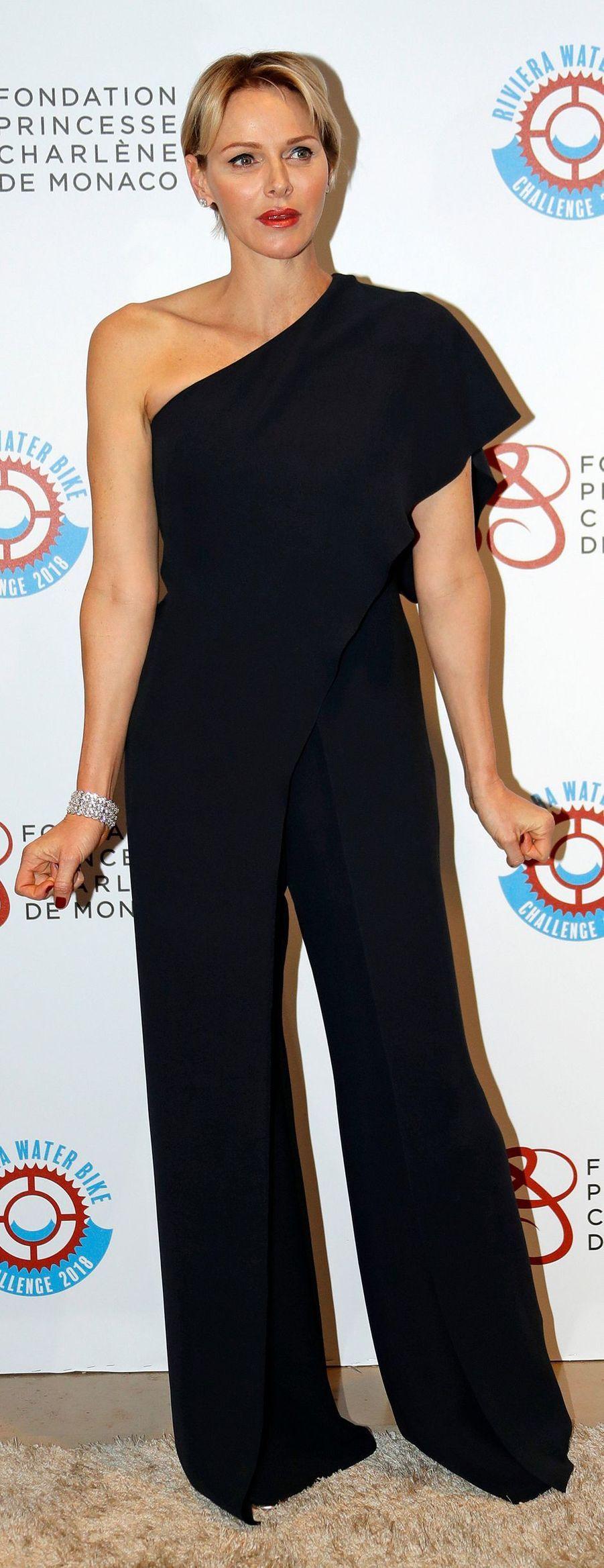 La princesse Charlène de Monaco en Ralph Lauren, le 14 avril 2018