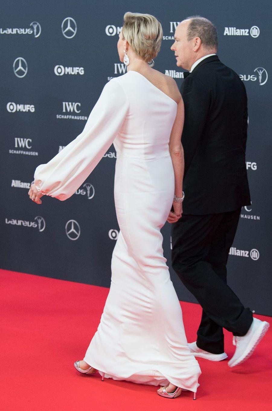 La princesse Charlène de Monaco, de dos, le 22 février 2018