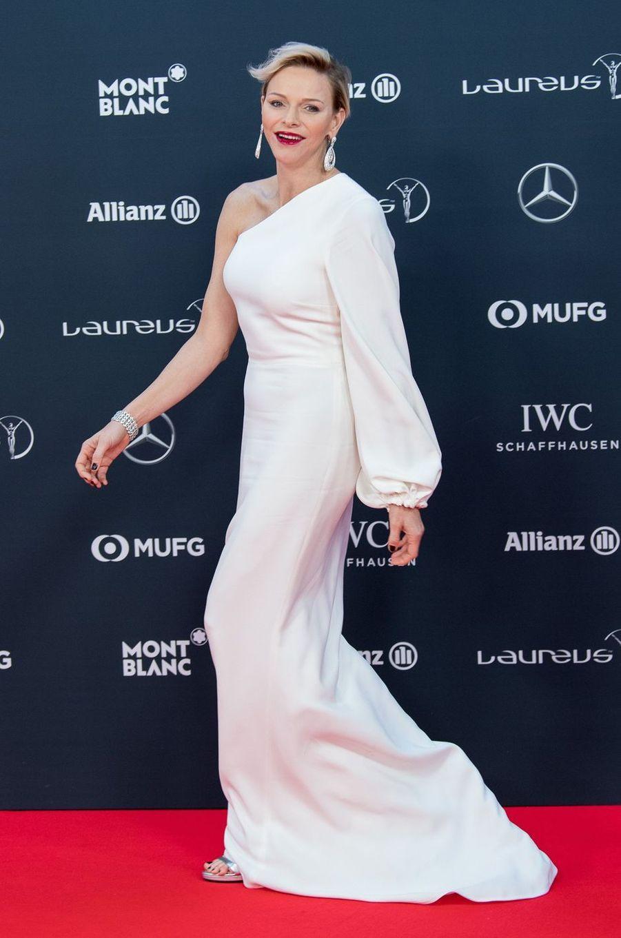 La princesse Charlène de Monaco en Stella McCartney, le 22 février 2018
