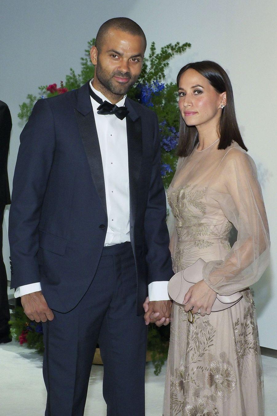 Tony Parker et Axelle Parker, lors du 71e Gala de la Croix-Rouge, vendredi à Monaco.