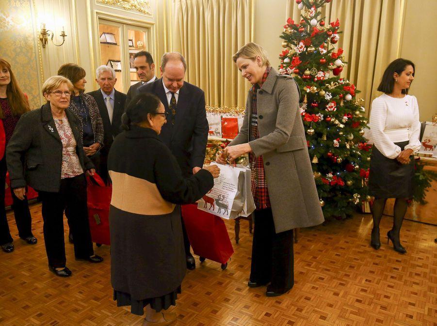 La princesse Charlène et le prince Albert II de Monaco à Monaco, le 13 décembre 2018