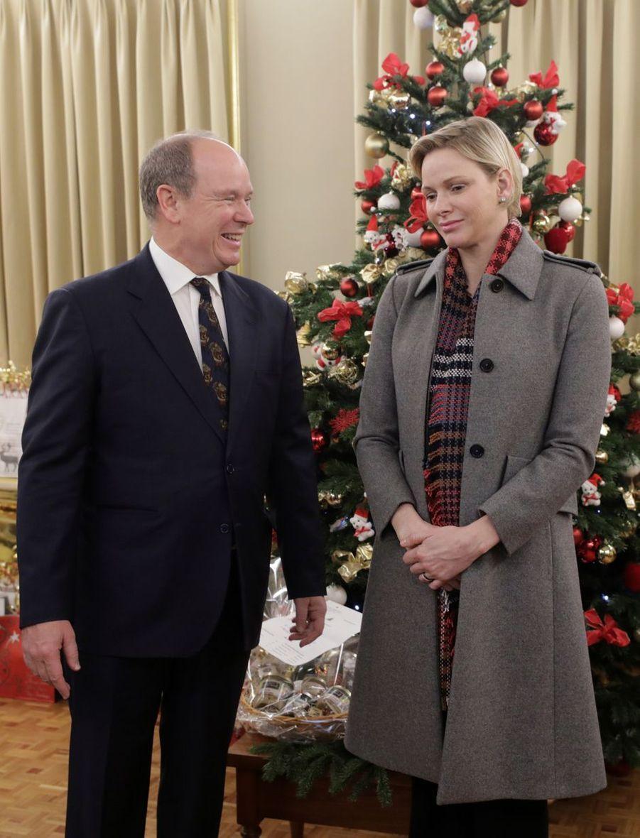 La princesse Charlène et le prince Albert II de Monaco, le 13 décembre 2018 à Monaco