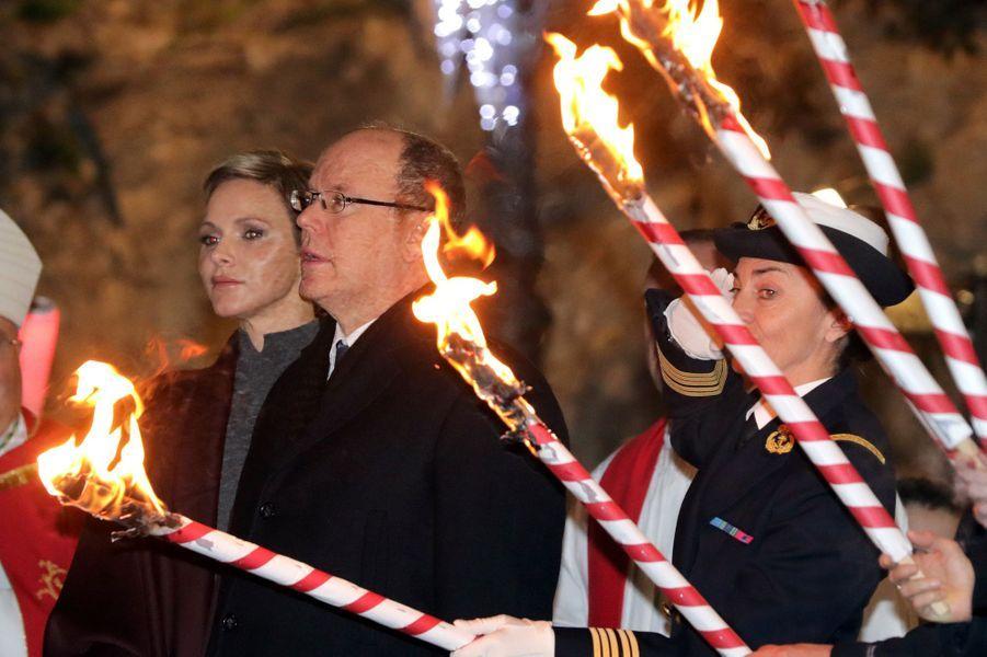 La princesse Charlène et le prince Albert II de Monaco à Monaco, le 26 janvier 2017
