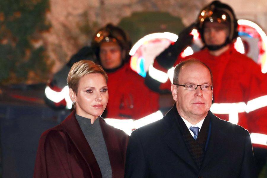La princesse Charlène et le prince Albert II de Monaco pour la Sainte-Dévote à Monaco, le 26 janvier 2017