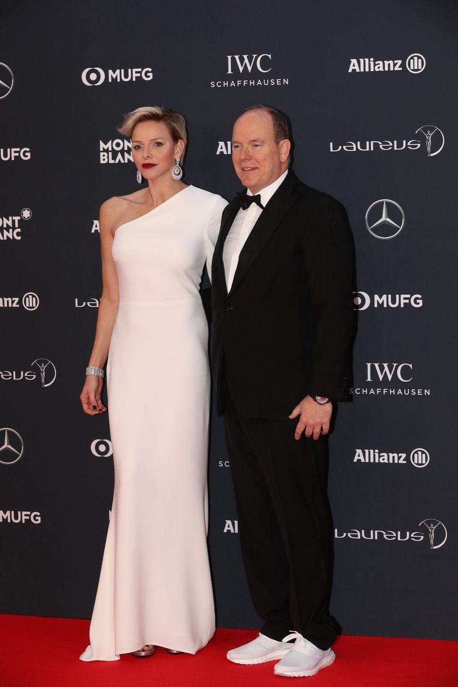 """Charlène de Monaco et le prince Albert à la cérémonie desprix """"Laureus du sport"""""""