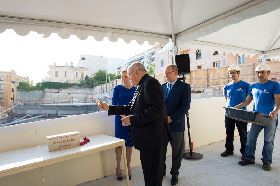 Charlène de Monaco et le prince Albert II posent la première pierre du futur Collège-Lycée François d'Assise Nicolas Barré, le 4 octobre 2016