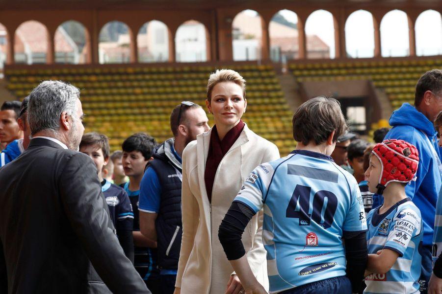 Charlène de Monaco au Tournoi Sainte Dévote de Rugby