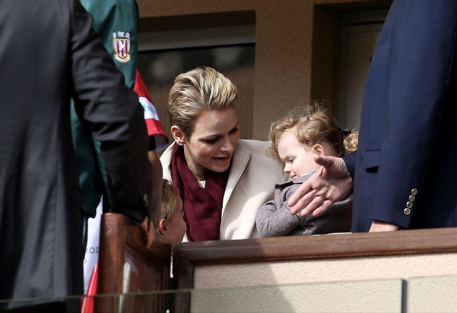 Charlène de Monaco et sa fille Gabriella au Tournoi Sainte Dévote de Rugby