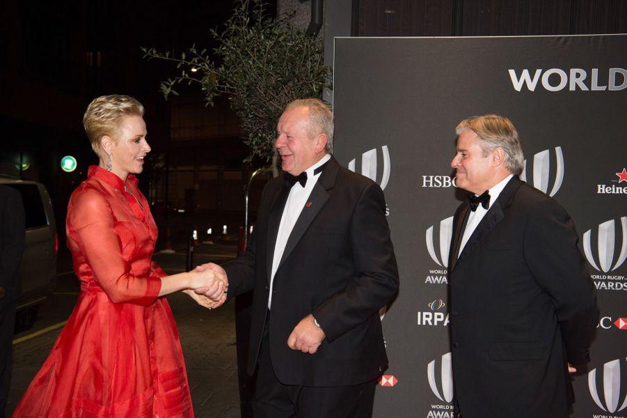 La princesse Charlène de Monaco aux World Rugby Awards, le dimanche 13 novembre 2016