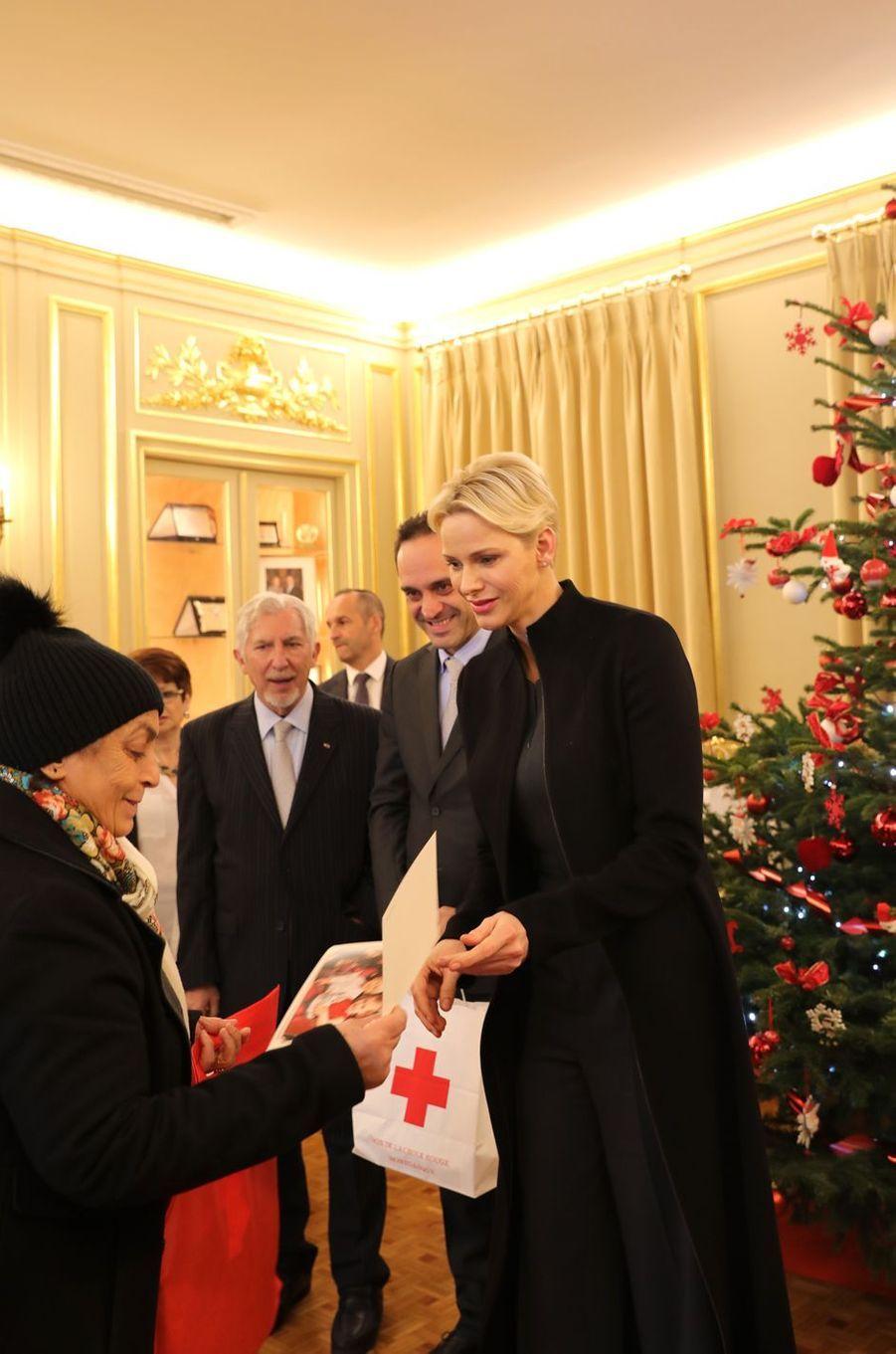 La princesse Charlène de Monaco à Monaco, le 15 décembre 2017
