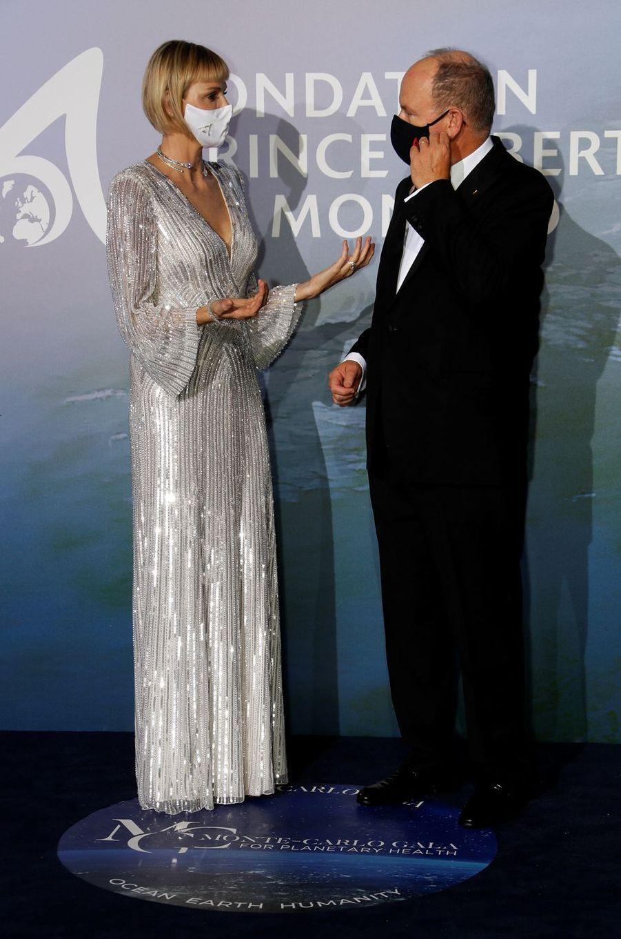La princesse Charlène et le prince Albert II de Monaco, à Monaco le 24 septembre 2020