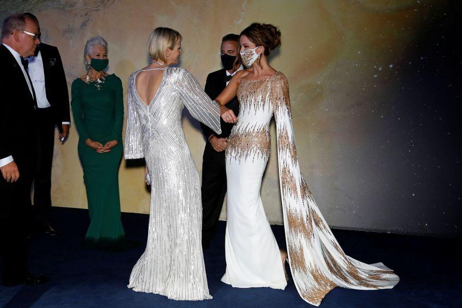 La princesse Charlène de Monaco avec Kate Beckinsale, à Monaco le 24 septembre 2020