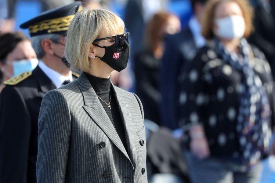 La princesse Charlène de Monaco, ce samedi 7 novembre 2020, lors de l'hommage aux victimes de l'attaque au couteau perpétrée dans la basilique de Nice, le 29 octobre dernier.