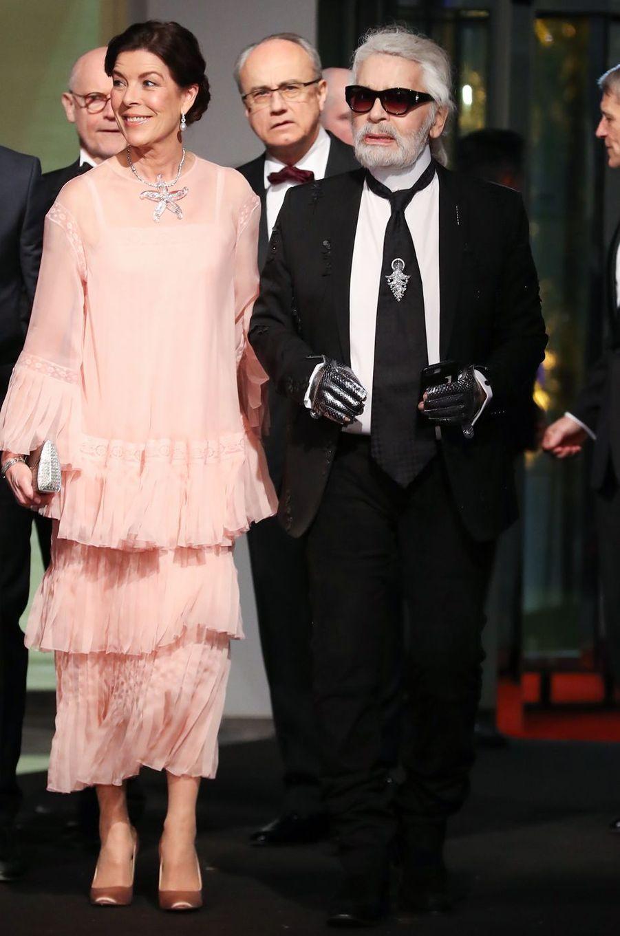 La princesse Caroline de Hanovre en Chanel à Monaco, le 24 mars 2018